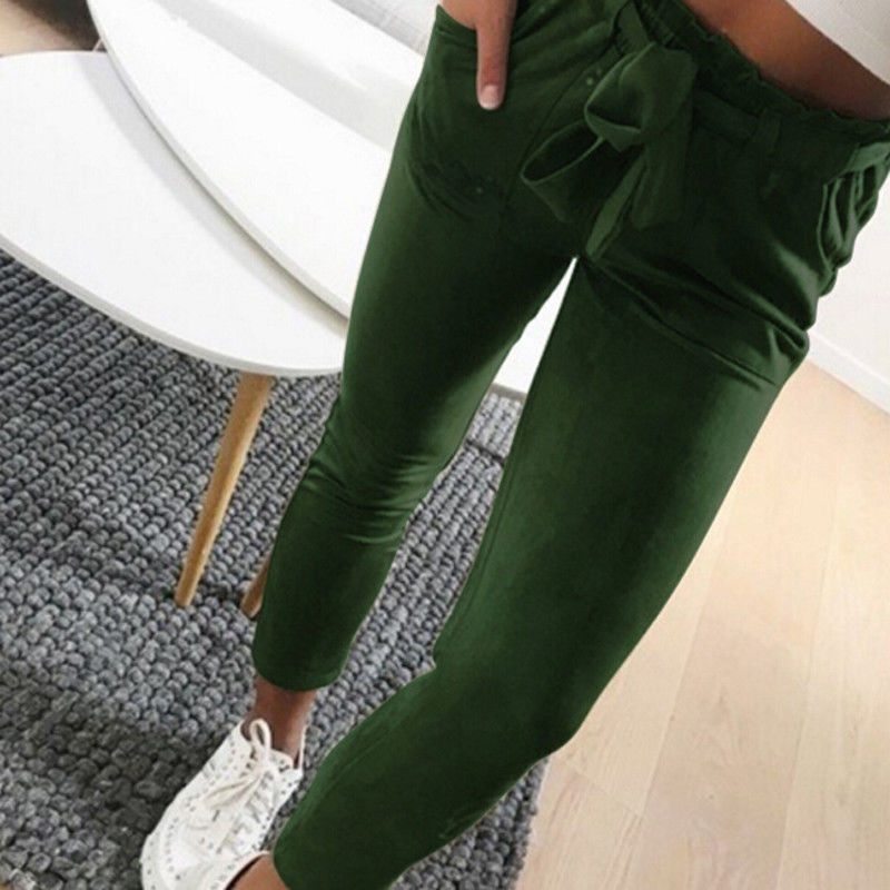 2019 Women Sexy arrival Striped Slim Skinny Casual High Waist Pencil Long Pants Trousers Flat Drawstring Bodycon Solid Pants 19