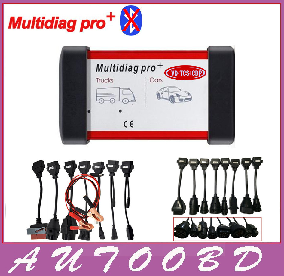 2014.R2 New Design Multidiag pro+ Same as OBD2 VD TCS CDP Scanner No Bluetooth+Free Activate + 8Car+ 8Truck cable DHL Free Ship 5 psc lot diagnostic tool connect cable adapter for tcs cdp plus pro obd2 obdii truck full 8 trucks cables for cdp by dhl free