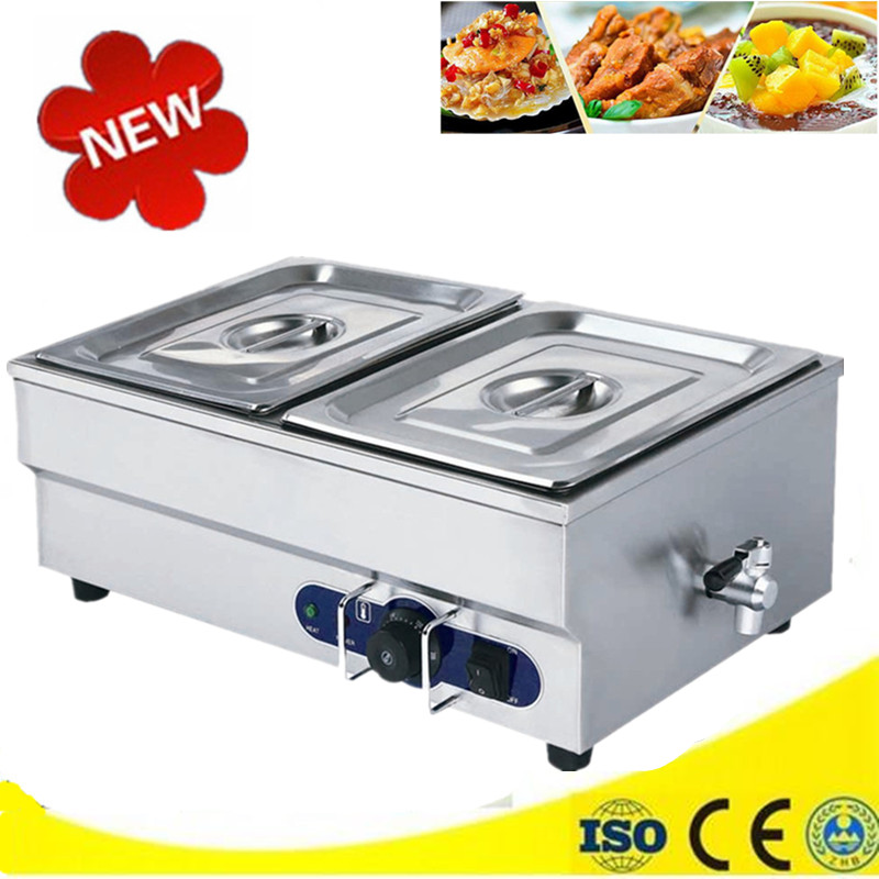 Electric 2-Pans Countertop Professional Food Warmer Automatic Bain Marie Buffet Tray Equipment for Commercial Restaurant