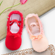 Lovely Canvas Soft Sole Girls Children Lace Ballet Practice Dance Shoes For Kids