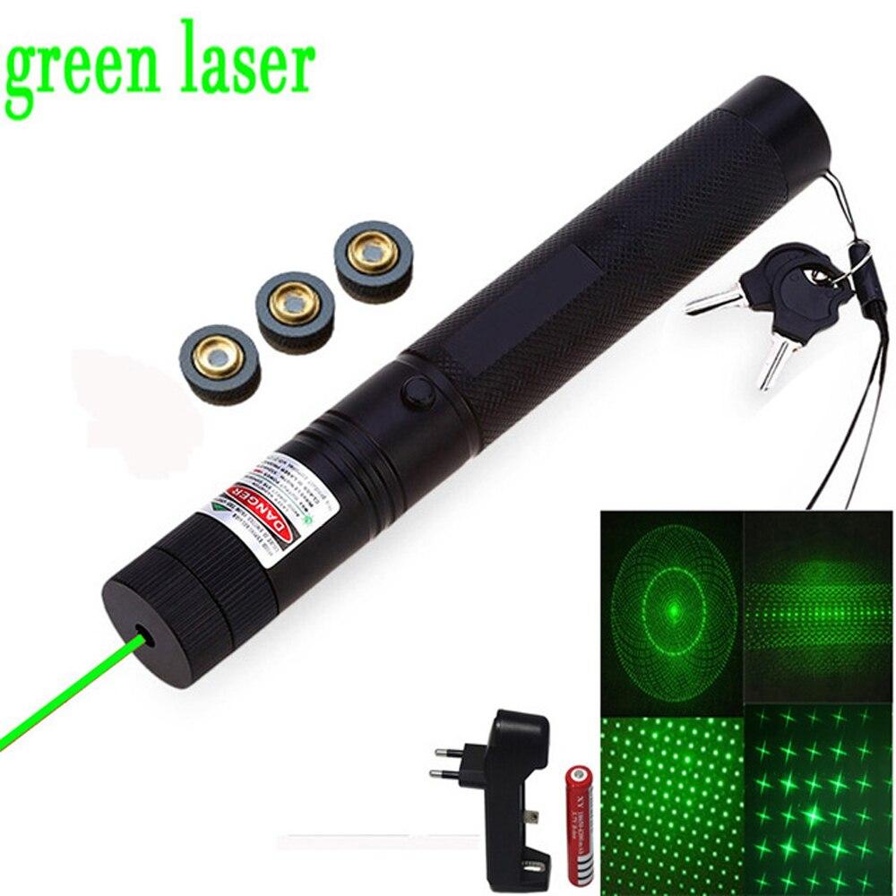 Tactics Green Laser Pointer 10000m red Laser Sight Adjustable Focus Lazer pen Light with Safe Key with Sky stars Cap