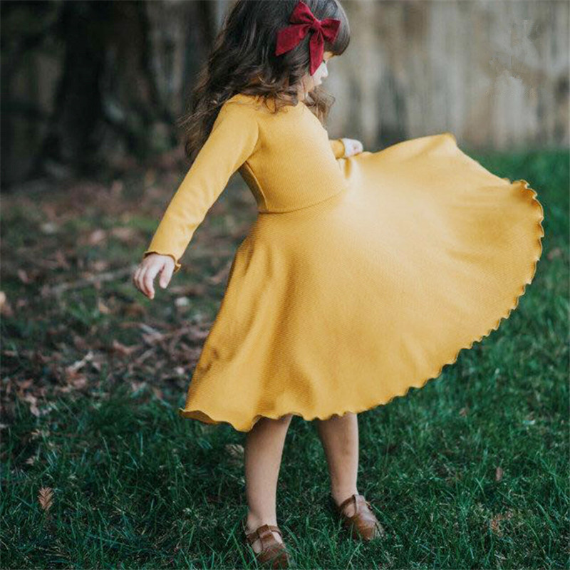Hurave 2018 new spring Baby Girls solid Dress Clothes Children long Sleeve Kids crew neck causal Pleated princess Dresses hot sale girls dress patchwork long sleeve kids dresses for baby girls ball gown princess dress spring children clothes costume