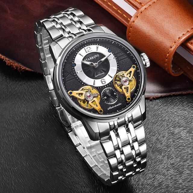 STARKING 2017 Europe Fashion Automatic Watch Double Tourbillon Skeleton Watch Men Top Brand Luxury Stainless Steel Wristwatches