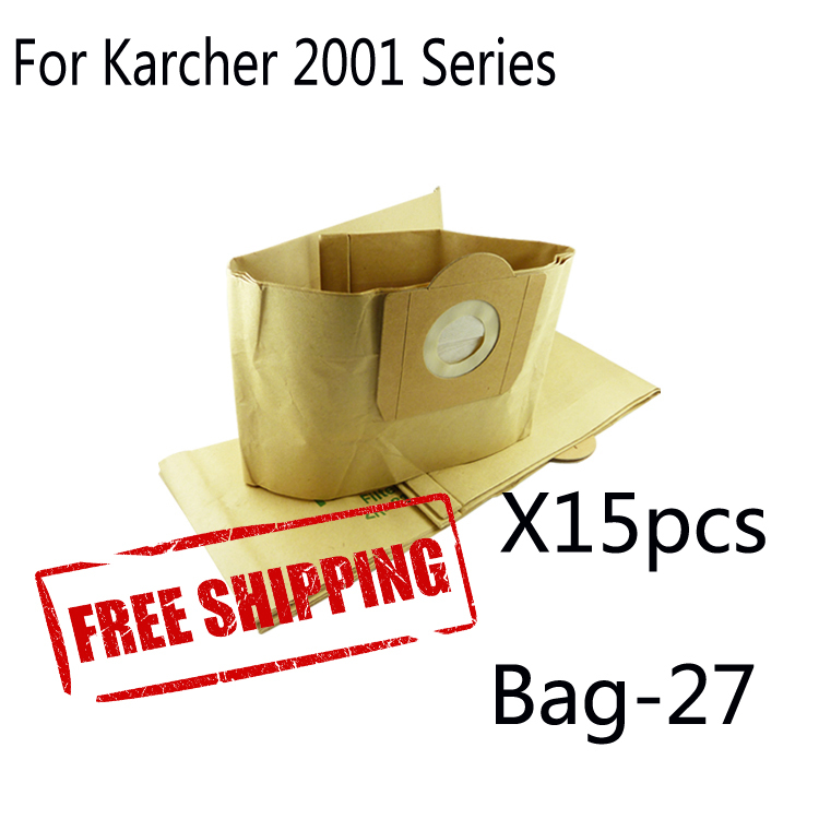 15 pcs dust bag for  KARCHER ZR-81 A2731TE A2731, K2801, WD4200, WD5300M, WD5400, WD5600MP VCP3811 VACUUM CLEANER DUST BAGS bosch smz 5300 00791039