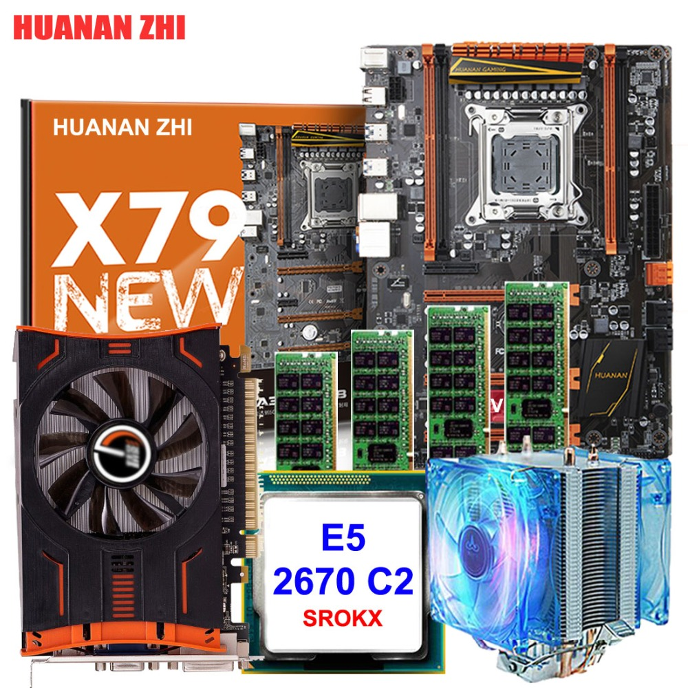 HUANAN ZHI deluxe discount X79 motherboard with CPU Intel Xeon E5 2670 2 6GHz with cooler