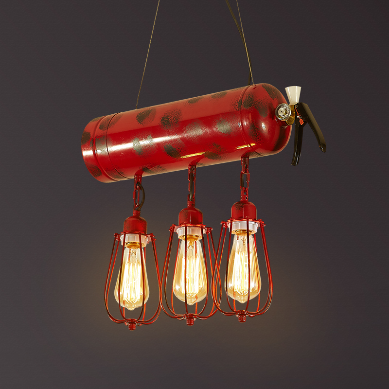 Loft Style Iron Fire Extinguisher Pendant Lights Fixtures Industrial Vintage Lighting Dining Room Hanging Lamp Edison Droplight iwhd gold iron style loft industrial vintage pendant lights retro birdcage hanging lamp kitchen dining room luminaire suspendu