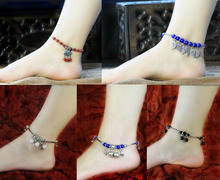 цена на Bohemian Bead Ball Leaf Bell ongevity Lock Anklet Silver Anklet Vintage Style Foot Jewelry Barefoot Sandal Ankle Jewelry