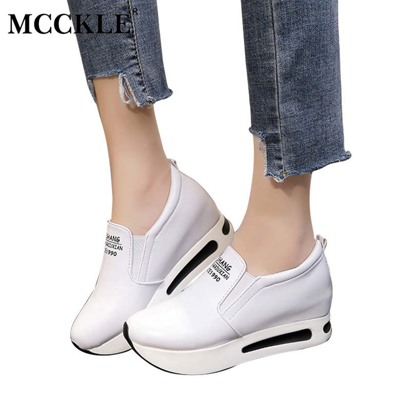 MCCKLE Female Slip On Elastic Band Platform Casual Height Increasing Black White Autumn Wedges 2017 Women's Fashion Shoes lanshulan bling glitters slippers 2017 summer flip flops platform shoes woman creepers slip on flats casual wedges gold