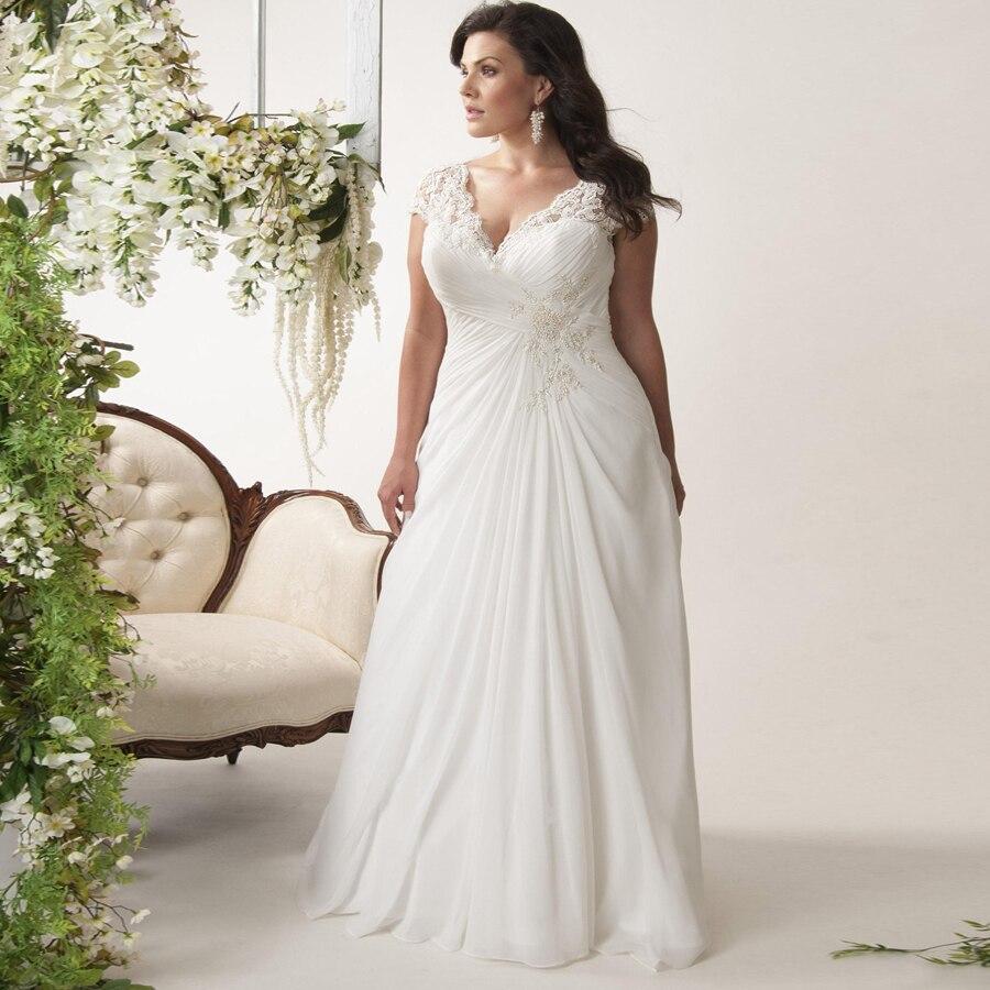 64acf5fe ... Cap Sleeve Lace Applique Chiffon Beach Wedding Dress Gowns Vestido De  Novia In Stock · save