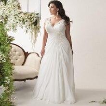 Jiayigong Billig Plus Größe Hochzeit Kleider Lager Kappe Sleeve V ausschnitt Spitze Applique Chiffon Strand Hochzeit Kleid Vestido De Novia