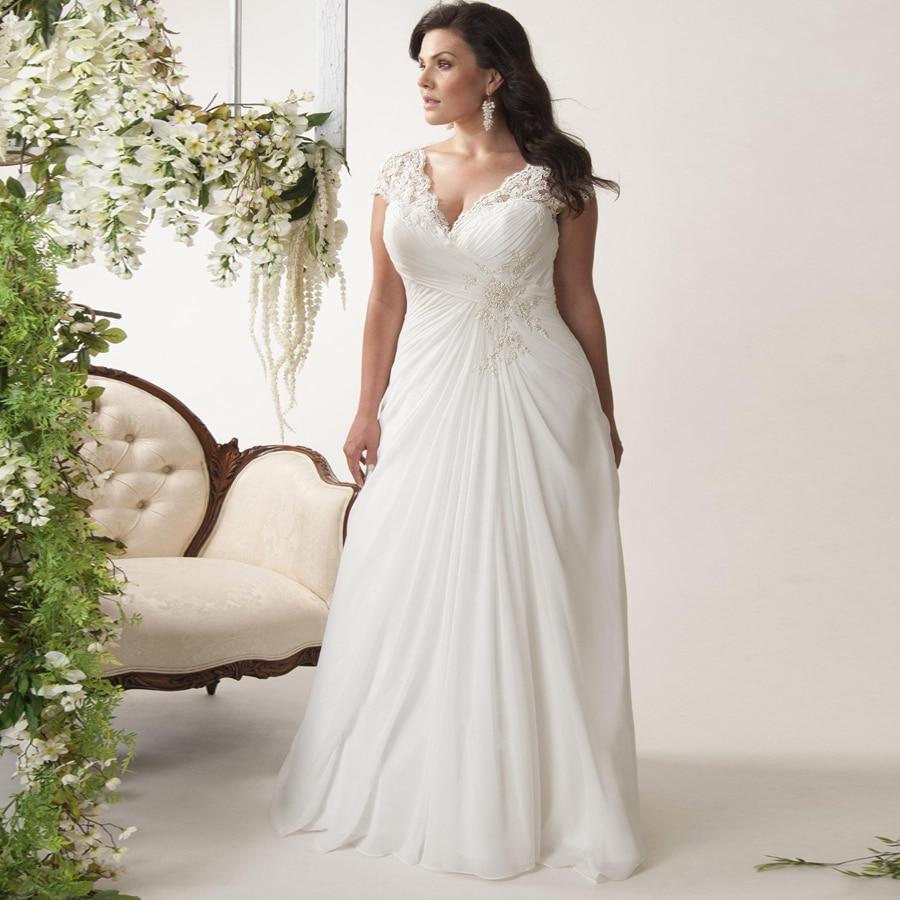 Jiayigong Cheap Plus Size Wedding Dresses Stock Cap Sleeve V-neck Lace Applique Chiffon Beach Wedding Dress Vestido De Novia