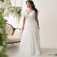 Jiayigong זול בתוספת גודל חתונה במלאי שמלות כובע שרוול צווארון V תחרה Applique שיפון חוף חתונת שמלת Vestido דה Novia