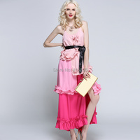 High Quality New Fashion Runway Ruffles Dress Split Women Halter Cascading Gradient Color Pleated Long Dress