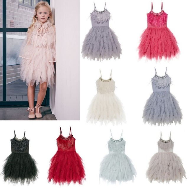 37940ab9a Baby Girls Feather Princess Dress Boutiques Children Clothing Sweet ...