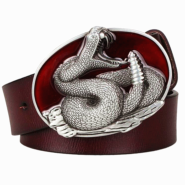 9e1e5f5f7afe Mode hommes de ceinture En Cuir Véritable boucle en métal ceinture de Serpent  serpent à sonnettes