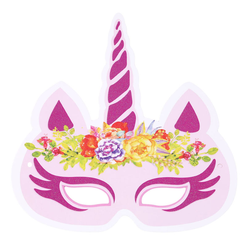 12PCS/Pack Mixed Color Unicorn Face Mask Party Masks