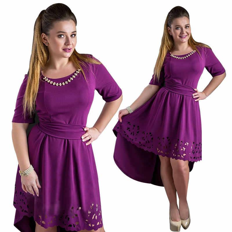 587a5c1867a 2018 летнее женское платье большого размера Женская одежда с вырезами на  высоком низком каблуке элегантное праздничное