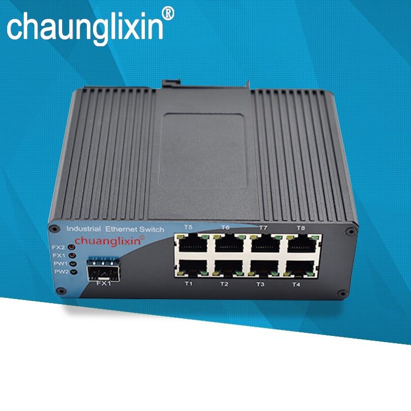 Commutateur industriel de Fiber de convertisseur de fibre d'ethernet de SFP 1.25G 8 Port rj45 1 convertisseur optique industriel de Fiber de Port de Fiber