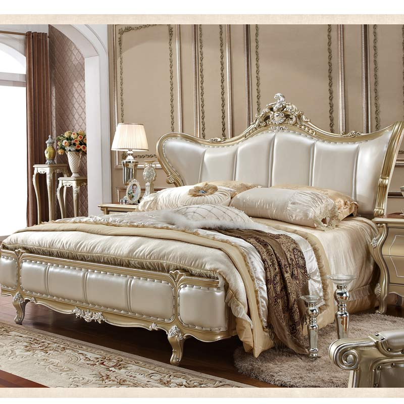 US $969.0 |Genuine Leather Head Bed French Bedroom Furniture Sets UK-in  Bedroom Sets from Furniture on AliExpress