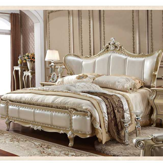 US $969.0  Genuine Leather Head Bed French Bedroom Furniture Sets UK-in  Bedroom Sets from Furniture on AliExpress