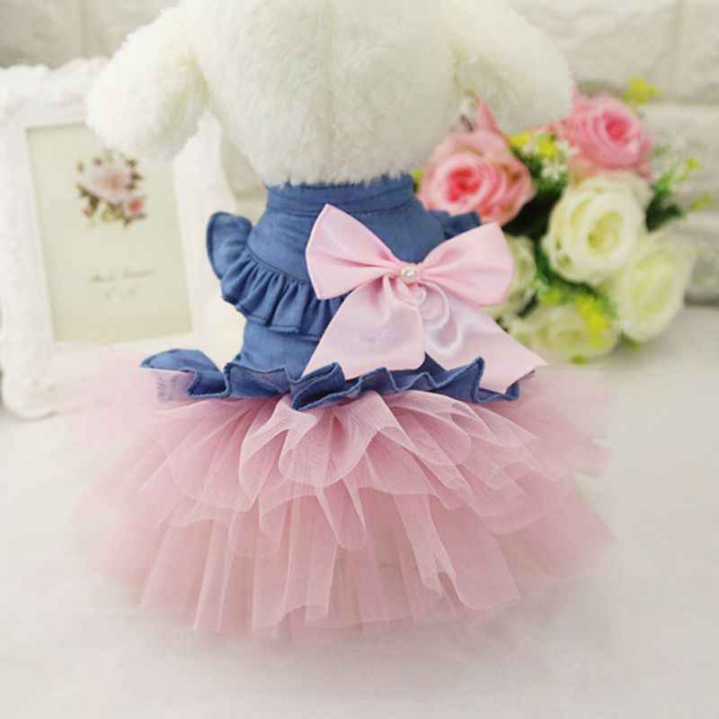 Big Bow Dog Dress Tutu Skirt Summer Puppy Clothes Princess Dog Wedding Dress