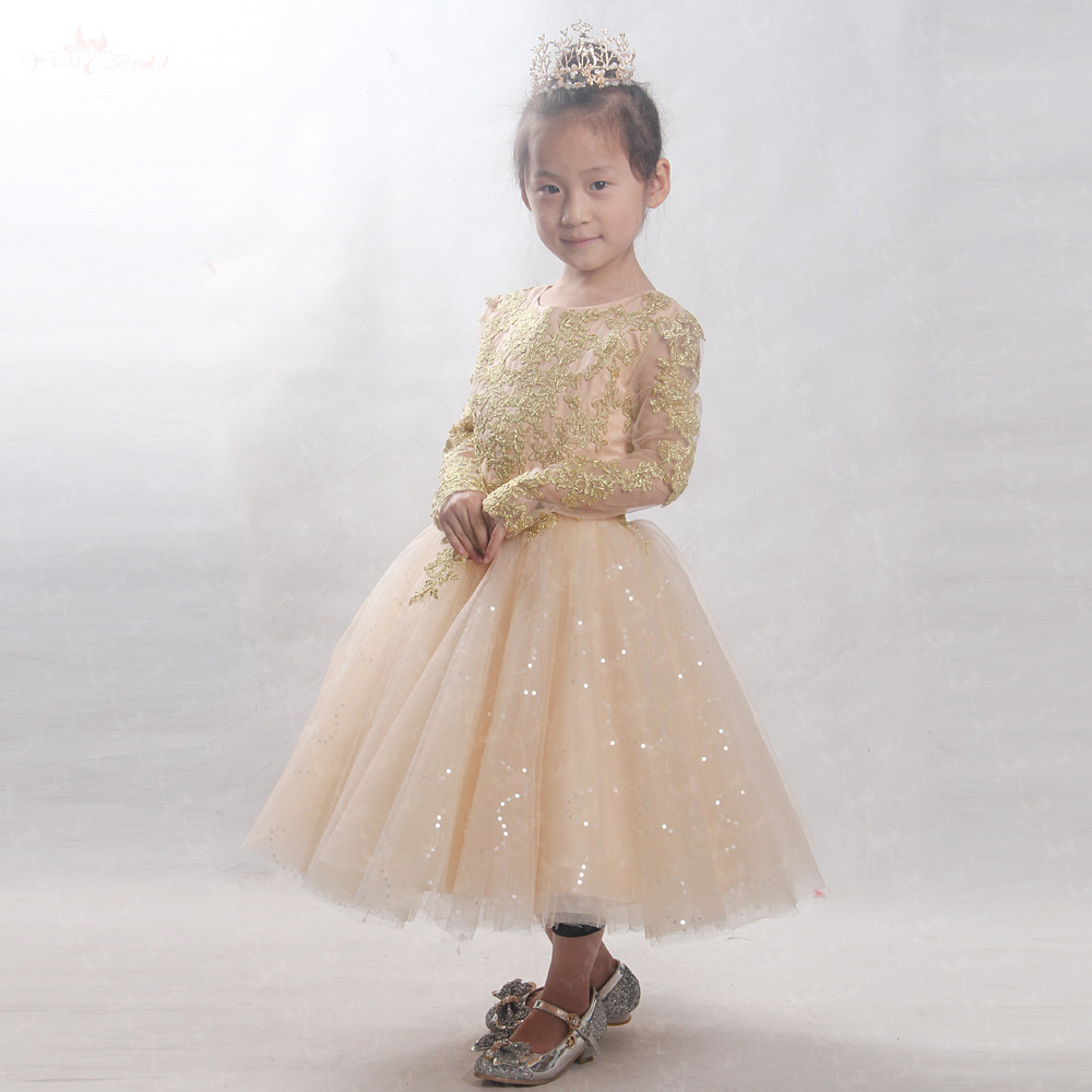 LZC022   Flower     Girl     Dresses   For Weddings 2018 Royal Gold Lace Kids Evening   Dress   For   Girls   Pageant Gowns