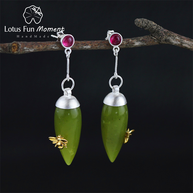 Lotus Fun Moment Real 925 Sterling Silver Natural Stone Original Fashion Jewelry Vintage Elegant Drop Earrings