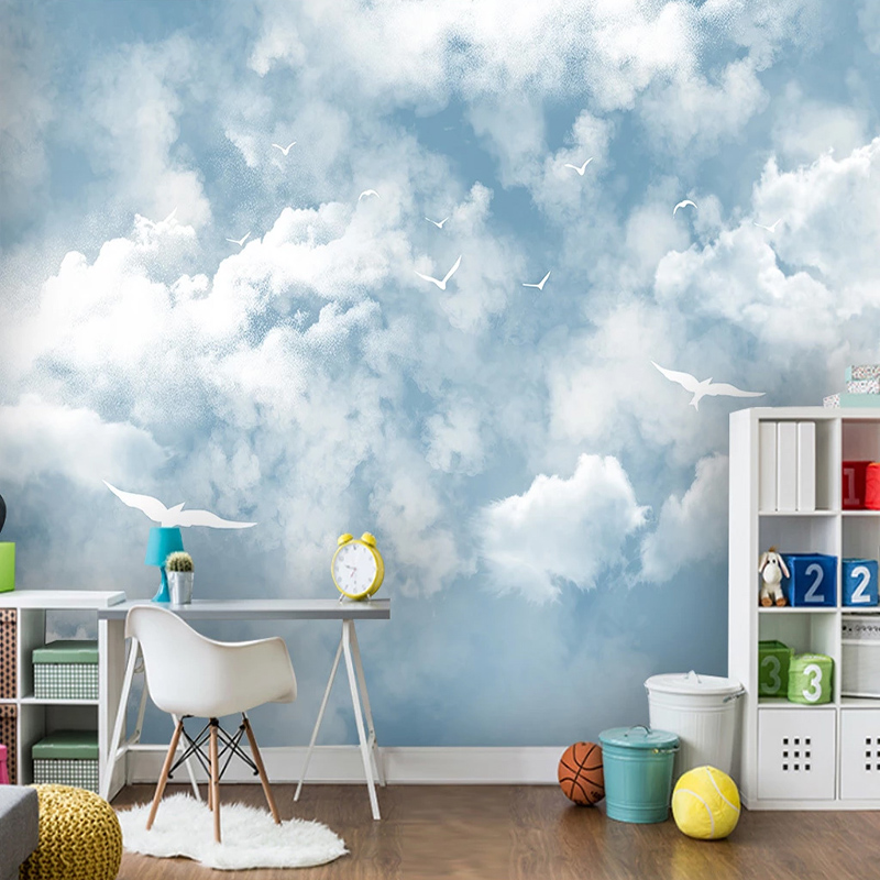 Modern Simple Blue Sky And White Clouds Mural Wallpaper 3D Kids Bedroom Living Room Home Decor Self-Adhesive Waterproof StickersModern Simple Blue Sky And White Clouds Mural Wallpaper 3D Kids Bedroom Living Room Home Decor Self-Adhesive Waterproof Stickers