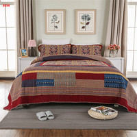 3pcs American style patchwork quilt bedspread red quilt set gray 230*250cm bed cover set 100%cotton flower printed home textile