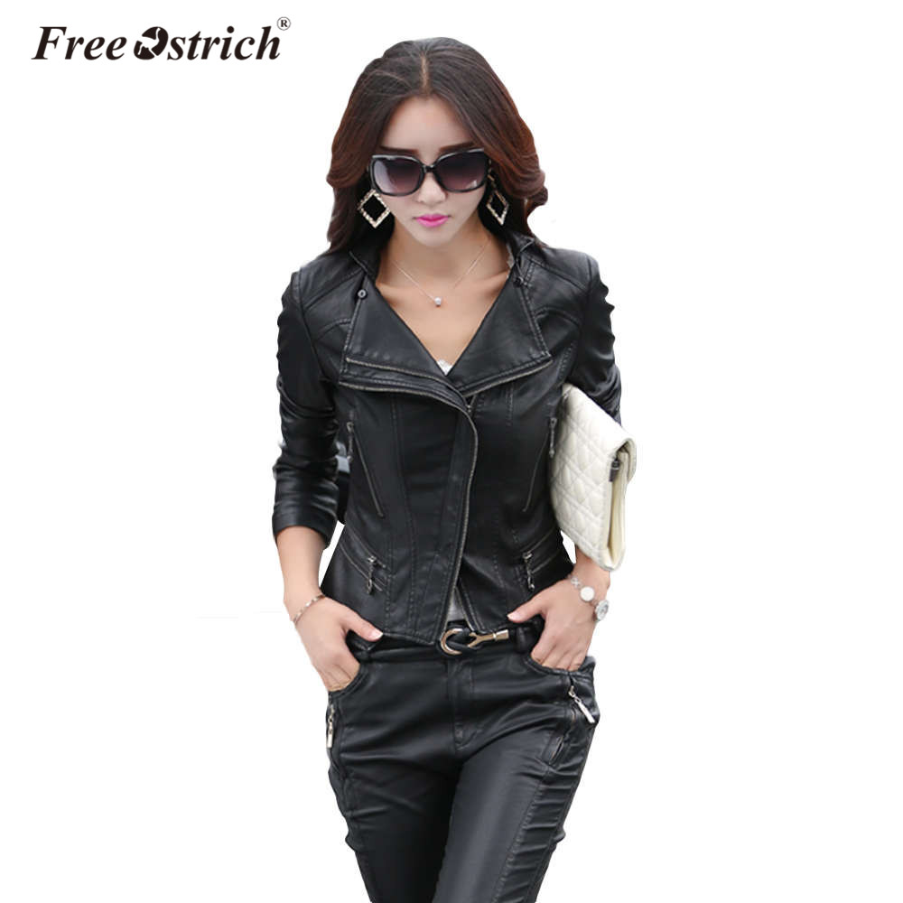 Free Ostrich Pu Leather   Jacket   2019 Autumn Fashion Women's Ruffles Diamonds Zipper Black Short Ladies   Basic     Jackets   Coats D40