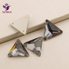3270 Triangle 16mm 22mm Black Diamond Glass Crystal Rhinestones Sew On Crystals For Clothing Strass Rhinestone