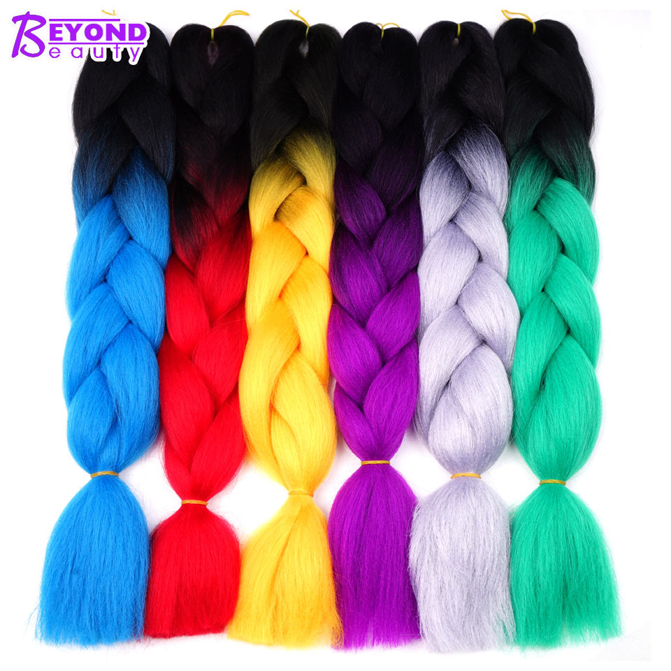 За Красота Ombre канекалон плетение волос для вязания крючком косы синтетических Jumbo косами крючком волос Цвета 24 дюймов 100 г ...
