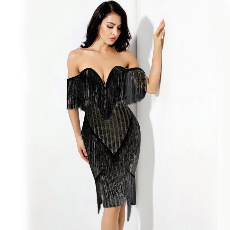 2018 Cold Shoulder Glitter Sexy Sequins Shine Party Tassel Off The Shoulder  Plunge V Neck Midi Bodycon Women Dress With Fringe. 1. 2. 3. a16dc691 ... 43a4ddc62dd2