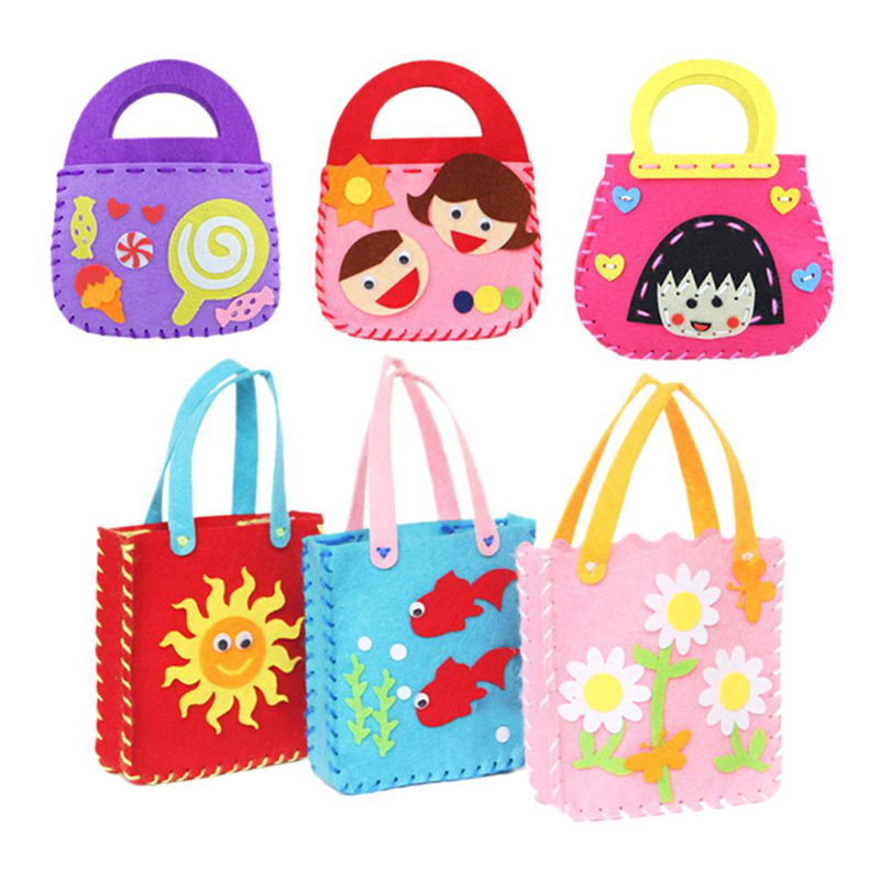 1pc DIY Cloth Bag Handmade Montessori Materials Educational Toys For Kids Craft Art Cartoon Animal Flower Non-woven Applique Bag