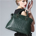 Nice Green Crocodile Skin Genuine Leather Women Bag Luxury Famous Brand Women Tote Handbag Shell O Shape Female C Bag 52ZD