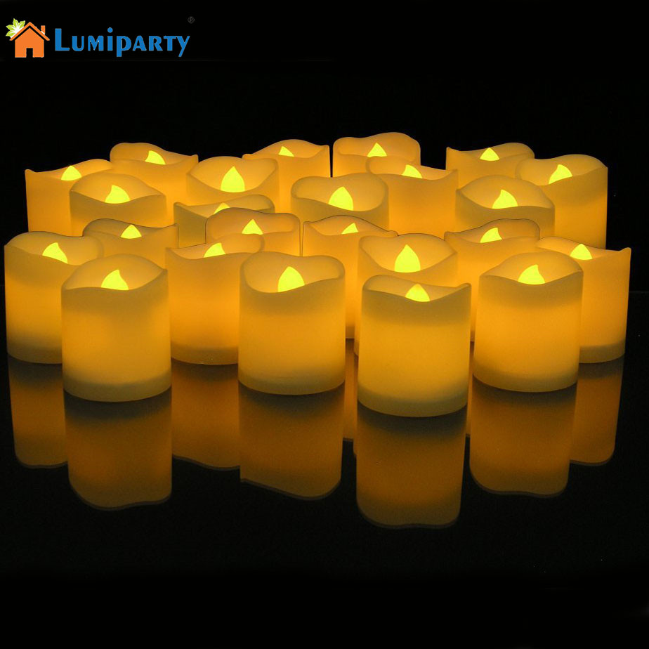 LumiParty LED Night Light Lighted Flickering Votive Style Flameless Candles Light - Box of 24