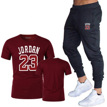 Summer Hot Sale Mens Sets T Shirts+pants Two Pieces Casual Tracksuit Male 2019 Tshirt Print Jordan 23 trousers men
