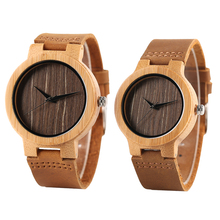2019 New Arrival Sweet Nature Wood Couple Watches Unique Casaul Brown Dial Bamboo Wooden Lovers' Quartz Wrist Watch Clock hot men wrist watch nature wood fashion bamboo handmade full wooden band fold clasp simple quartz 2017 new arrival women analog