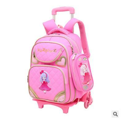 Kid's School Backpack On Wheels Children Luggage Rolling Bags Wheeled Backpacks For Girls School Trolley Backpack Bag For Girls