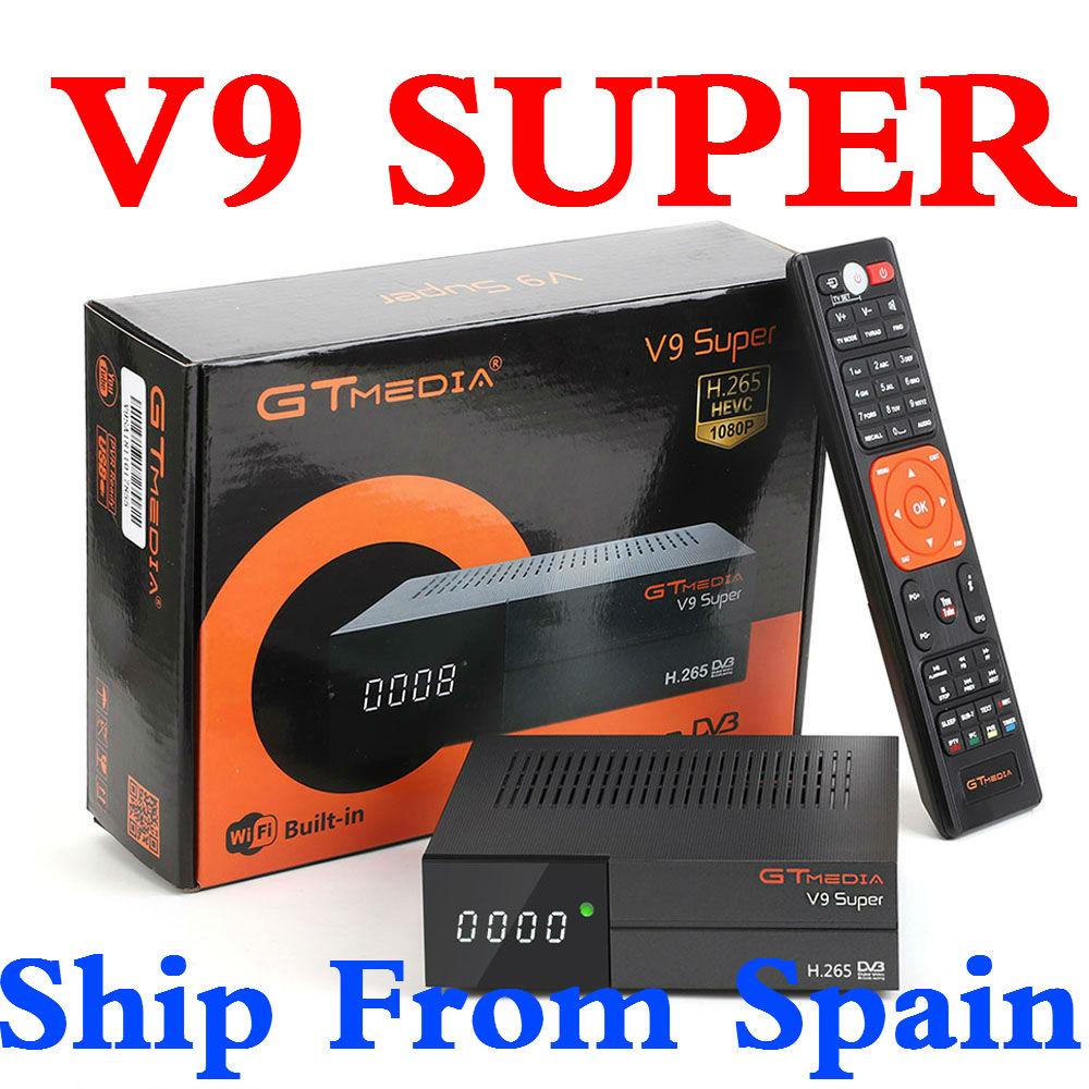 GT Media V9 Super Satellite Receiver Bult in WiFi with 1 Year Spain Europe Cline DVB S2 Full HD TV Box GTMedia V9 Super Receptor