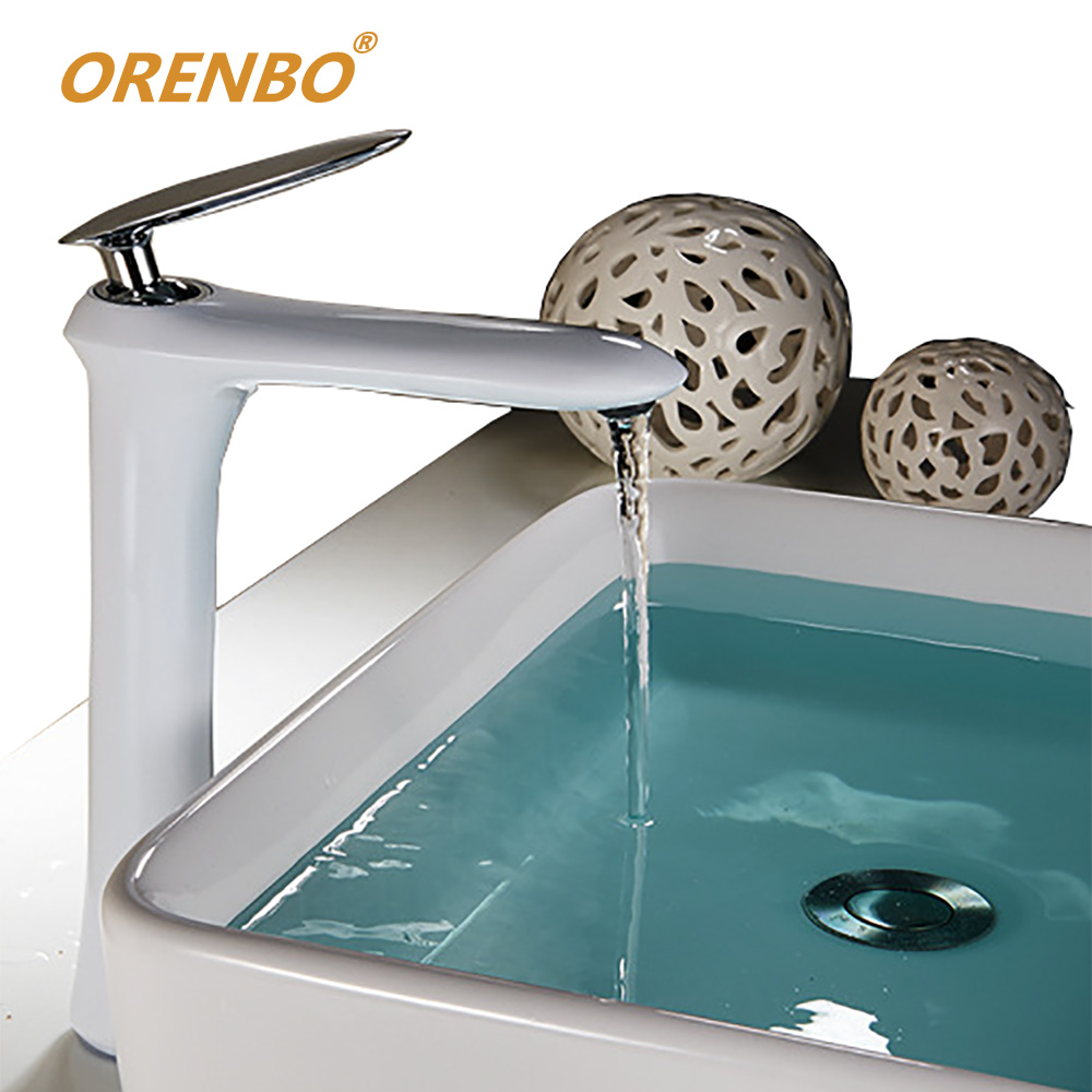 Orenbo Modern Bathroom Faucet Grilled White Paint Brass Basin Sink Faucet Mixer Tap Plus High Faucet Full Copper Faucet