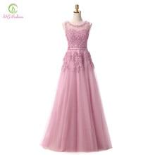 84c29fb1a Robe de Soiree ssyfashion dulce Rosa Encaje rebordear largo vestido de  noche nupcial cucharada sin mangas banquete transparente .