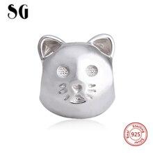 2017 New Style 925 Silver Original Animal Cat Charm Bead Fit Authentic Pandora Bracelets European DIY Jewelry Woman Gifts