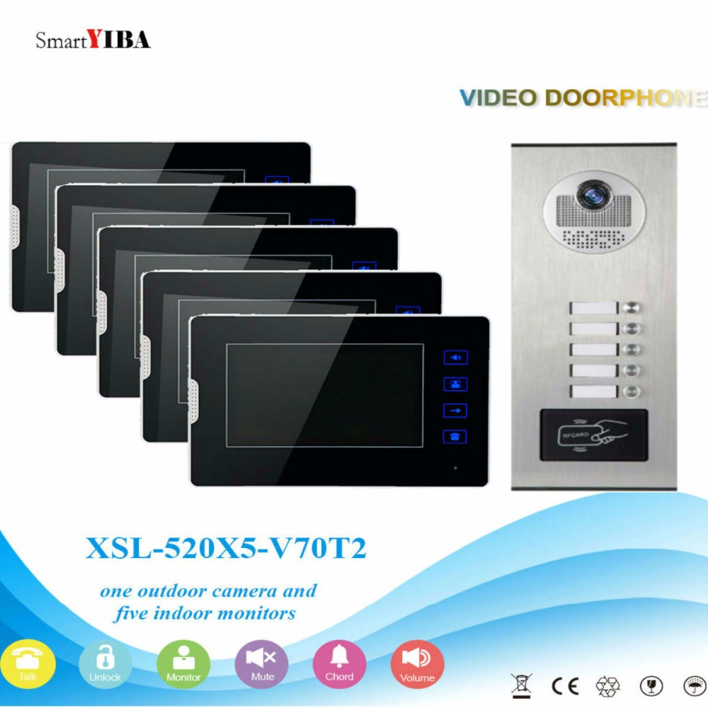 SmartYIBA Wired 7Inch Monitor Video Intercom Door Phone Doorbell System Outdoor RFID Access Camera Intercom For 5 ApartmentSmartYIBA Wired 7Inch Monitor Video Intercom Door Phone Doorbell System Outdoor RFID Access Camera Intercom For 5 Apartment