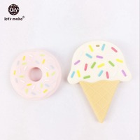 Silicone Ice Cream And Donut Teether Food Grade 20pcs 10lot Teether BPA Free Accessory DIYcraftsNecklace Pendant