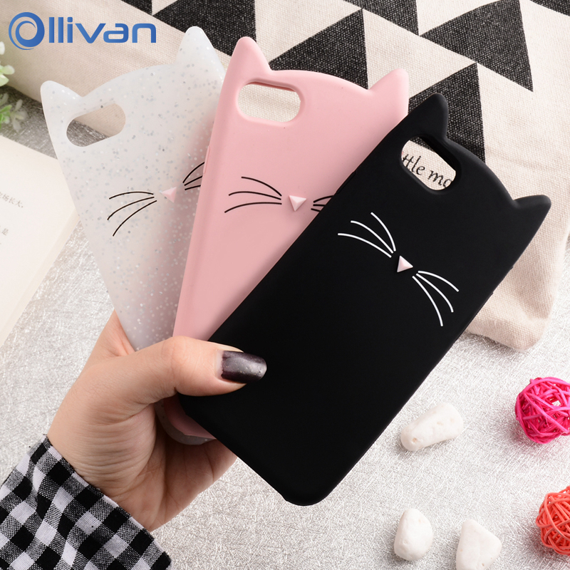 OLLIVAN För iPhone 7 Fodral 3D Söt Cartoon Cat Ear Ear Capinha Fodral För iPhone 5 5S Se 6 6S 7 8 Plus 9 Xs Max Xr X Silikon TPU Fundas