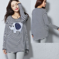 Loose Striped Short-Sleeve T-Shirt 100% Cotton Maternity Top Clothes For Pregnant Women Animal Maternity Clothes Maternity Tees