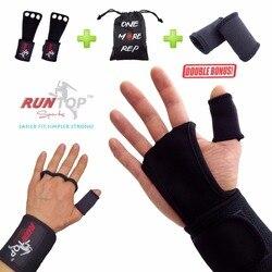 Runtop crossfit wods التدريب قبضة سادة تمرين رفع الأثقال جلد اليد بالم حماية المعصم التفاف هدفين دعم الأشرطة