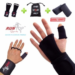 Runtop crossfit wods luvas de treinamento aperto almofada workout levantamento de peso couro palma da mão proteger envoltório de pulso cinta suporte cintas