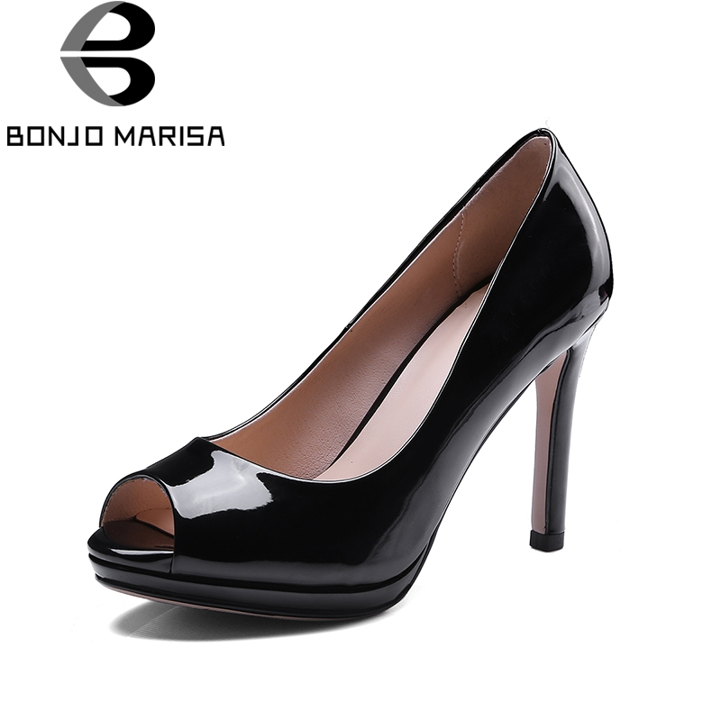 BONJOMARISA Top Quality Big Size 34-43 Peep Toe Thin High Heels Spring Summer Shoes Women Pumps Sexy Office Party Shoes Woman big size 40 41 42 women pumps 11 cm thin heels fashion beautiful pointy toe spell color sexy shoes discount sale free shipping